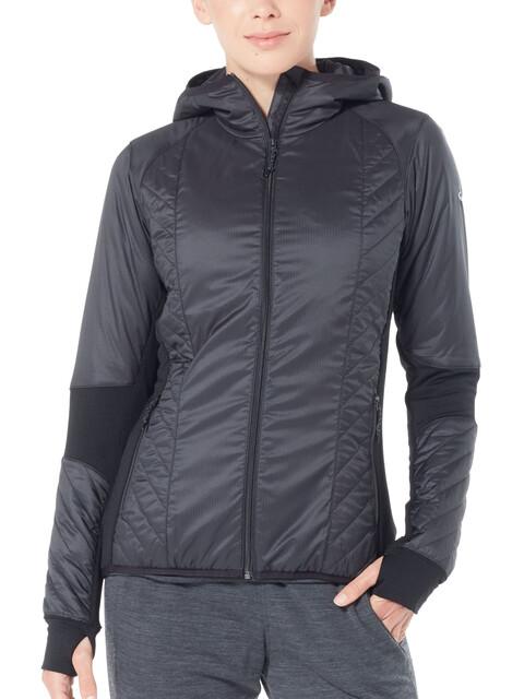 Icebreaker Helix LS Zip Hood Jacket Women Black/Jet Heather